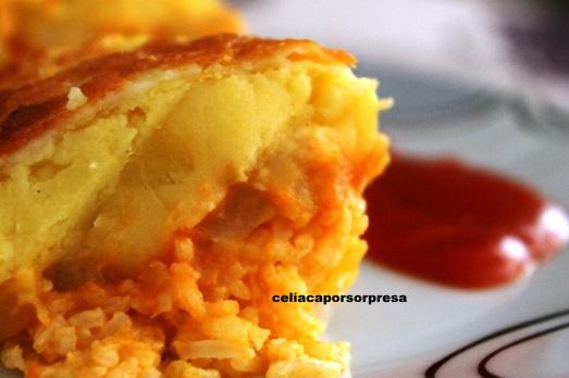 pastel de arroz, calabacín y puré de patata2