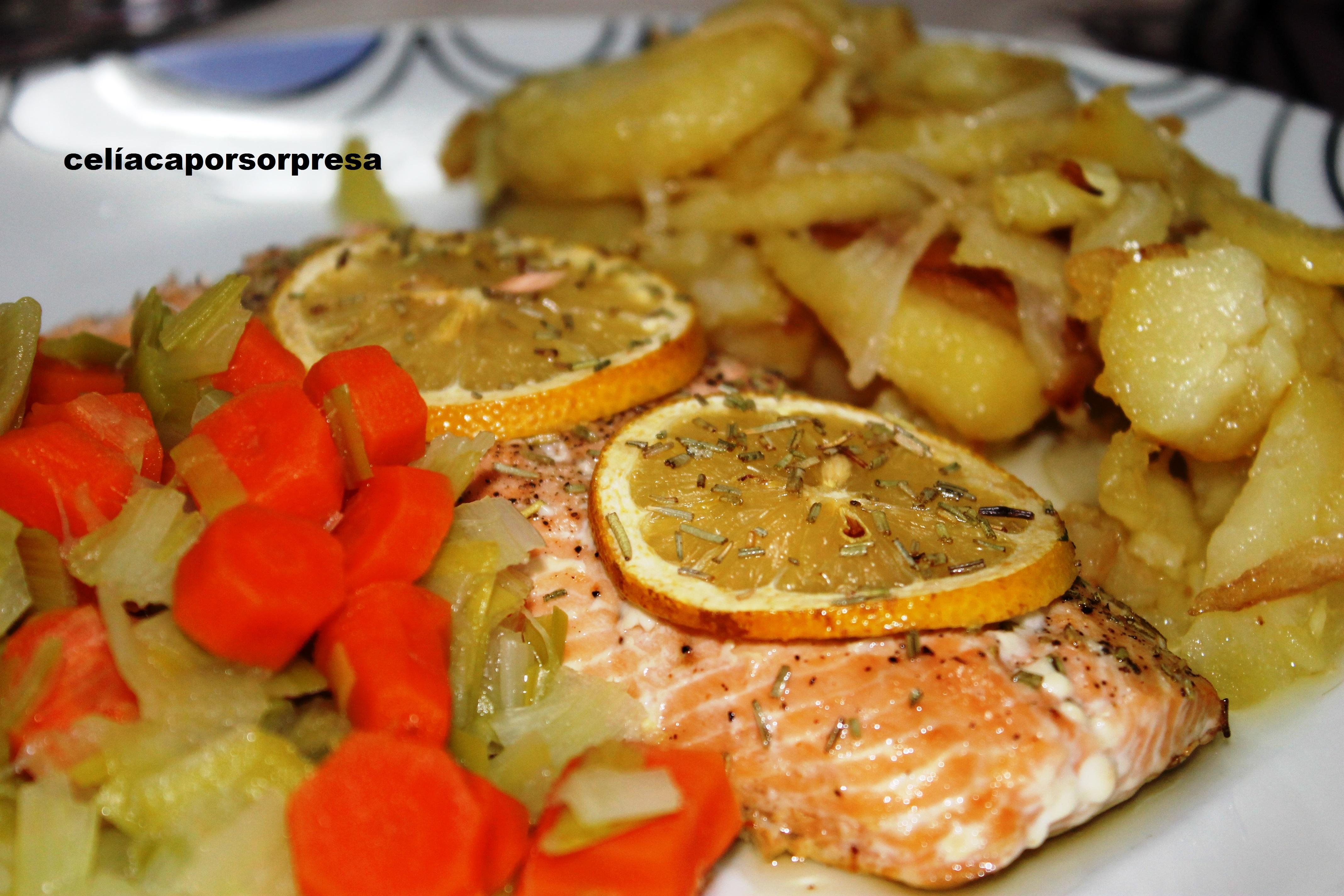 Salmón Al Limón Con Verduras Y Patatas Panaderas (horno)