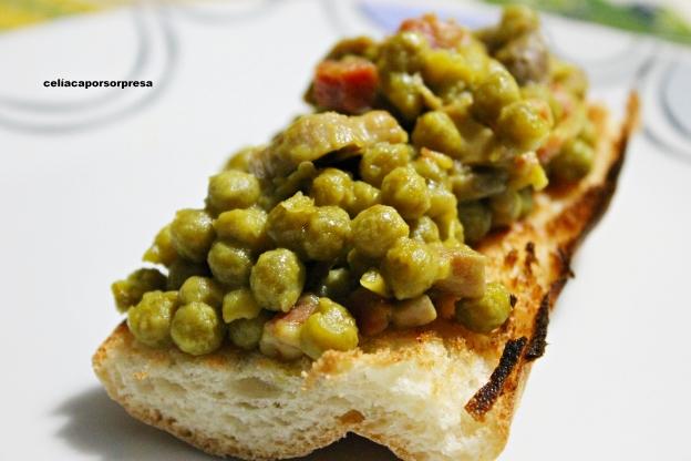 tosta de guisantes, champiñon y jamon2